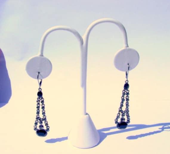Vintage Givenchy Designer Signed Black & Gray Rhinestone Dangle Pierced Runway Earrings Vintage Jewelry Jewellery Formal