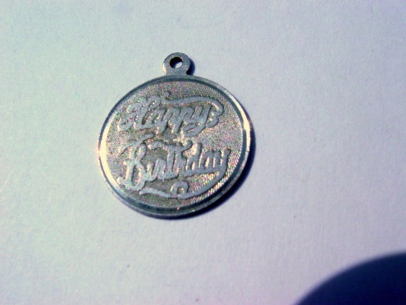 Happy Birthday Charm or Pendant Sterling Silver 925 Vintage Jewelry Jewellery