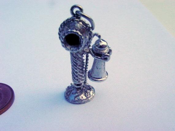 Vintage Telephone Pendant Sterling Silver Old Fashioned 3D Phone Pendant 925 Vintage Jewelry Jewellery