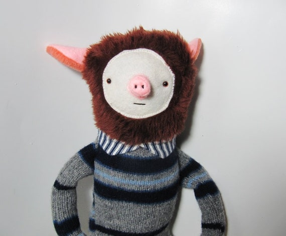 Pig animal stuffed fabric softie boy