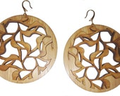 Large Floral Cut-Out Bamboo Earrings KSE111009