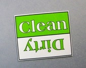 dishwasher sign, CLEAN versus DIRTY, magnet or velcro, spring green and white