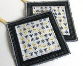 KITCHEN POTHOLDER SET recycled black denim with cotton print by Lynn Minney Designs