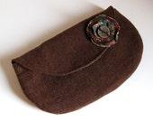 CLUTCH PURSE - recycled clutch  - brown clutch -  wool clutch - BONUS removable flower pin - Lynn Minney Designs
