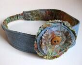 FLORAL HEADBAND - reversible headband - recycled jean headband - BONUS flower clip