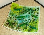 fused glass square plate- green yellow black white
