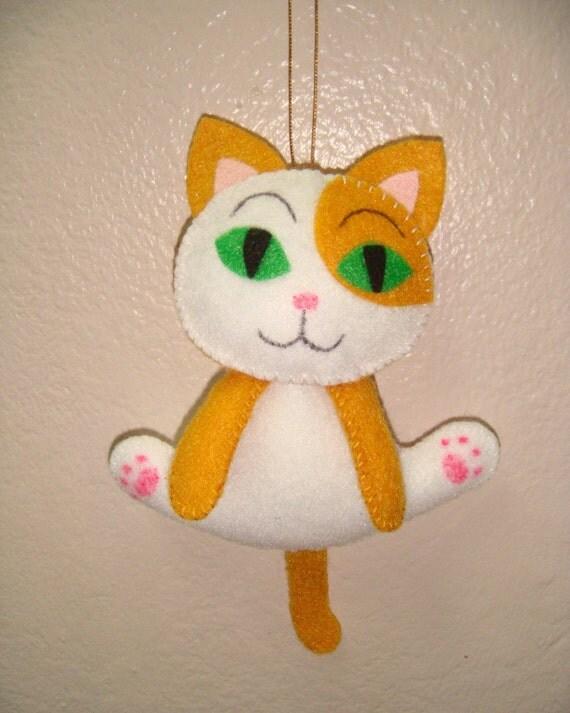 cute kitty cat felt christmas xmas ornament orange and white
