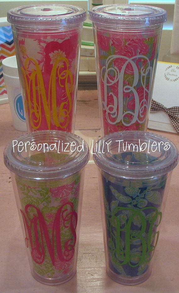 Personalized Lilly Tumblers with Straw