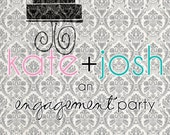 Damask Engagement Cake Party Invites (20 printed)