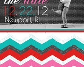 Save the Date Magnets- Grey Chevron Design