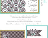 Wedding Invitation Suite- Peacock Shimmer Design