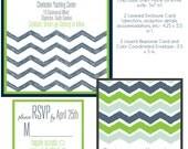Wedding Invitation Suite- Navy Chevron Design
