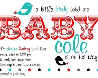 Tweet Tweet Baby Shower Invitation (20 printed invites)