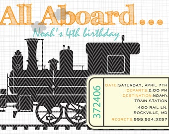 Steam Locomotive- Train Party Invites (20 printed 5x7)