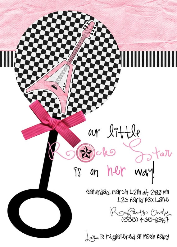 little rock star baby shower invites 20 printed. Black Bedroom Furniture Sets. Home Design Ideas