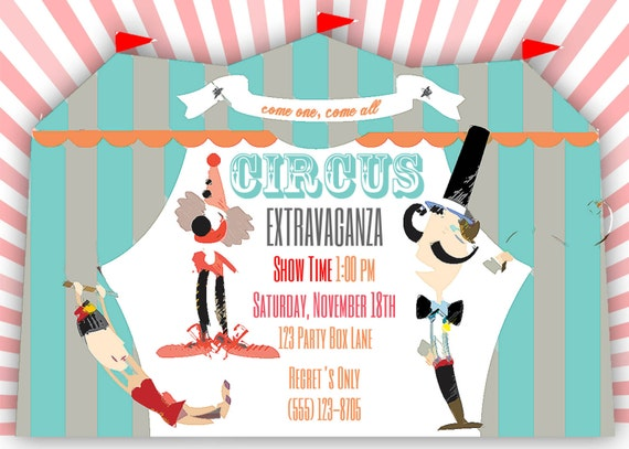 Circus Birthday Invite (20 printed 5 by 7)