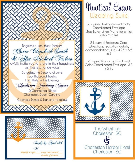 Wedding invitation suite nautical esque design by for Wedding invitations 50 cents each