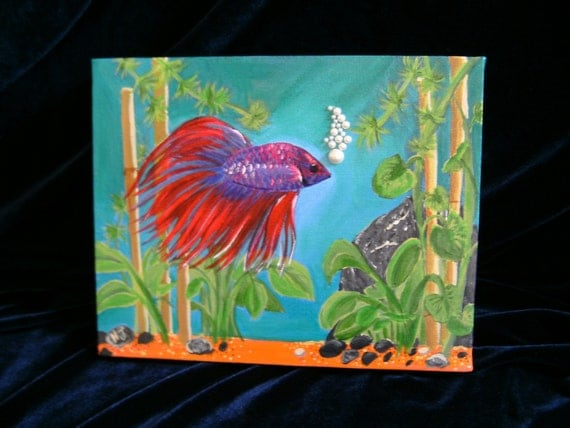 Red violet crown betta fish painting for Betta fish painting