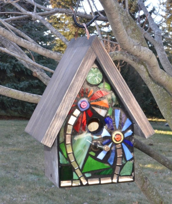 Stained Glass Mosaic Birdhouse FRONT ONLY made to order, Custom design