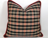 MUST GO - Burberry Look Plaid with Red Velvet Trim Pillow 18 inch