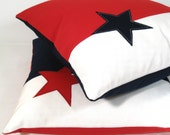 """Stars & Stripes Outdoor Pillow Cover, Decorative Red White Blue Throw Pillow Case, Navy Sunbrella Cushion Cover, Texas Lone Star 16"""" America"""
