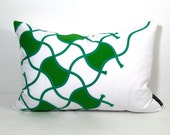 SALE - Green Pillow Cover - Decorative Cushion - White - Modern Geometric - 14x20 inch