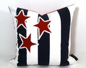 SALE - Nautical Pillow Cover - Red White Blue - Decorative Cushion - Stars Stripes 16 inch