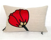 Red Pillow Cushion - Decorative Modern - Tulip Poppy - Silk Applique 12X18 inch