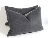 Mohair Grey Pillow Cover - Decorative Gray Cushion - Modern Minimalist - Charcoal Wool - 12X18 inch