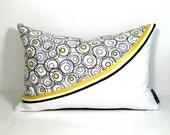 SALE - Black White Pillow Cover - Decorative Yellow Cushion - Lemon Zest - Swirls Circles Dots - Nursery 12 X 18 inch