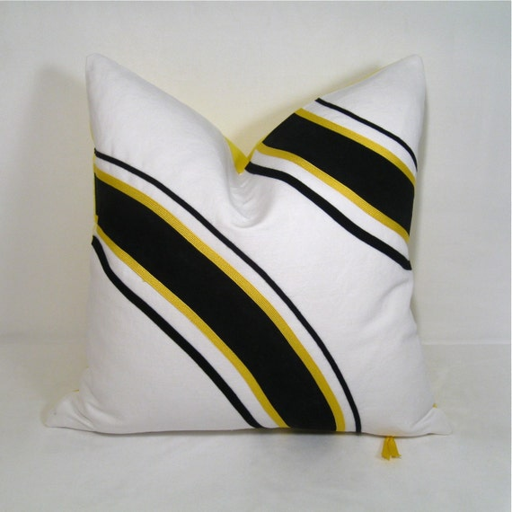 SALE - Painted Pillow Cover - Black and Lemon Yellow Graphic 18 inch