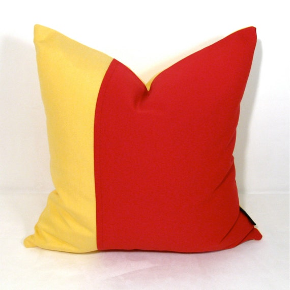 Red And Yellow Decorative Pillows : SALE Red Yellow Pillow Cover Decorative Cushion Outdoor