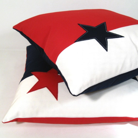 "Stars & Stripes Outdoor Pillow Cover, Decorative Red White Blue Throw Pillow Case, Navy Sunbrella Cushion Cover, Texas Lone Star 16"" America"