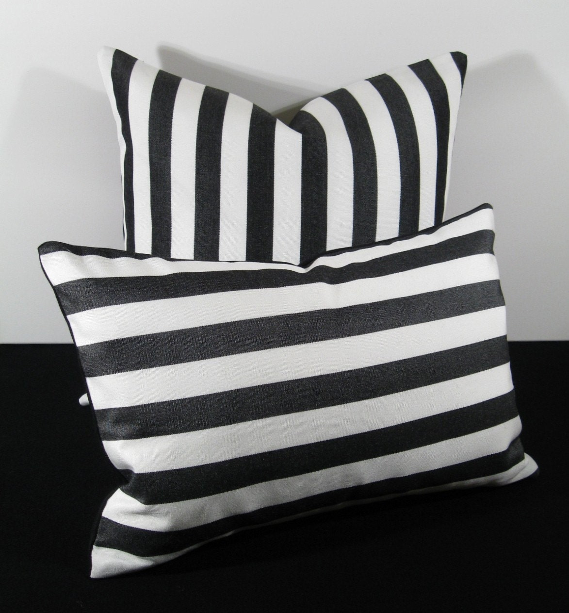 Black and White Stripe Jail Time Outdoor Pillow by Mazizmuse