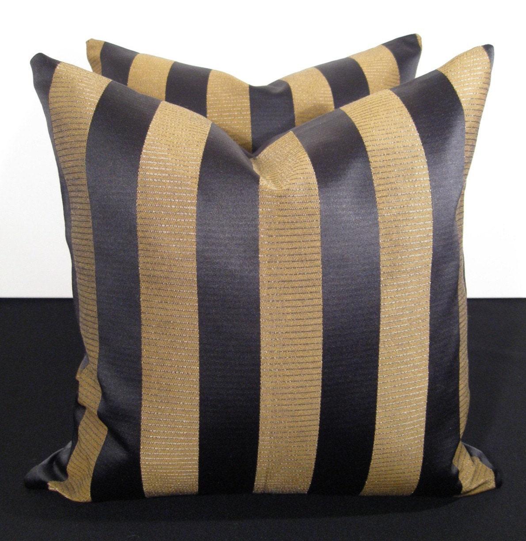 sale black and gold satin shimmer stripe pillow 18 inch. Black Bedroom Furniture Sets. Home Design Ideas