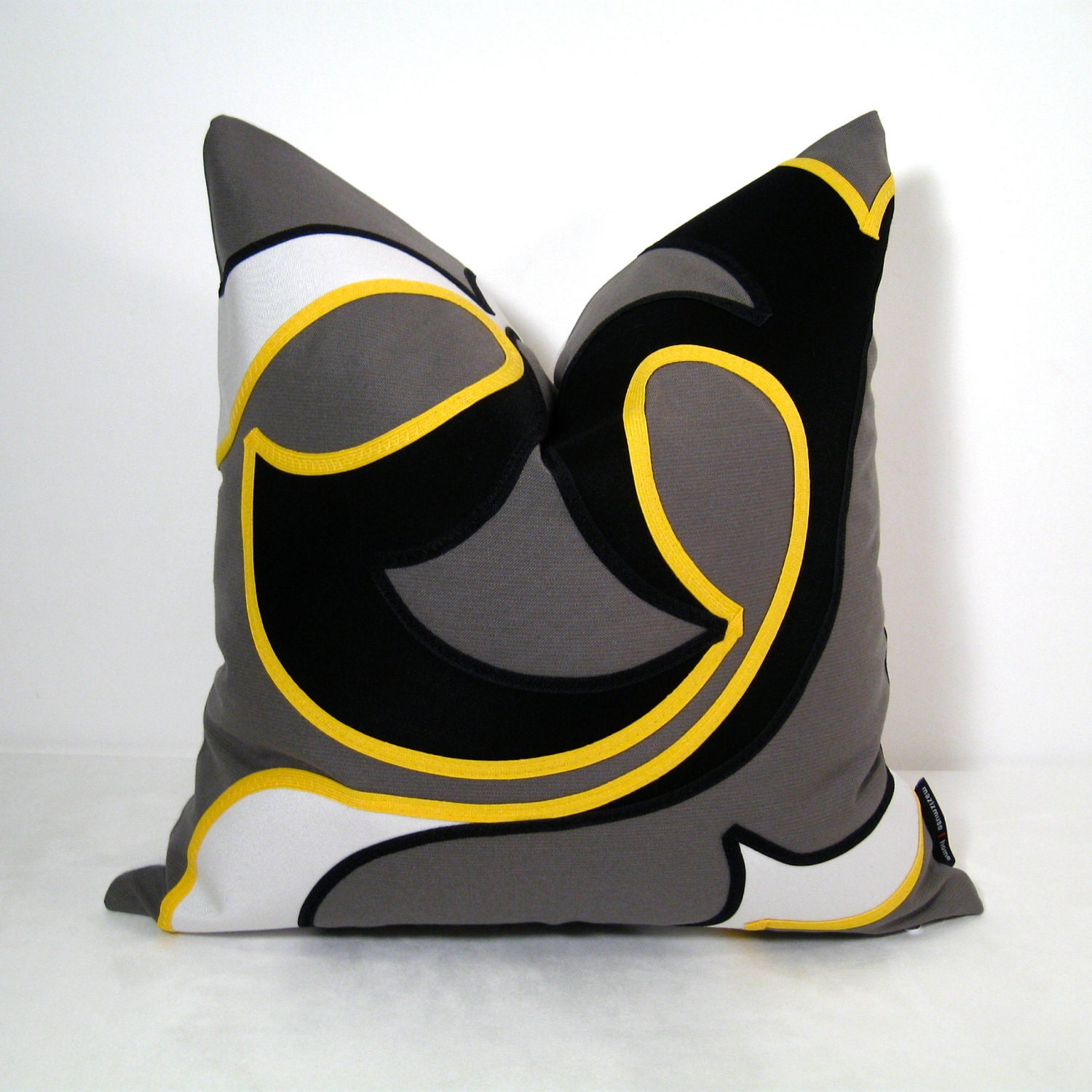 Grey Yellow Pillow Cover Decorative Cushion Outdoor by Mazizmuse