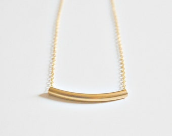 Gold bar necklace, gift for women, gold curved tube, gold chain, simple classic sexy jewelry, littleglamour gift for women - Angela mini