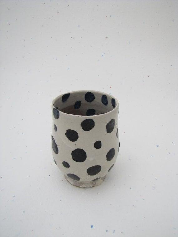 Black and White Polka Dot Wine Tumbler Stoneware Handmade Muddy Paws Pottery