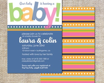 Baby Shower Invitation modern design stripes and dots