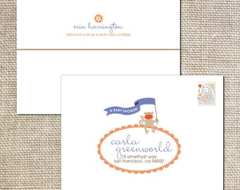 Printed envelopes to match your animal parade shower invitations
