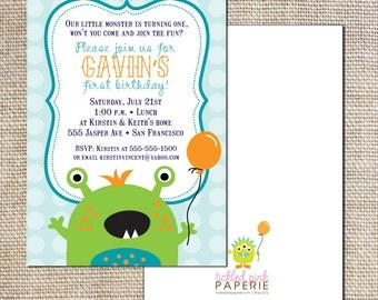 Birthday party invitation for your cute little monster