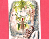 """Vintage CHRISTMAS POSTCARD -  """"Little Match Girl""""  - French Lithograph, 1950s"""