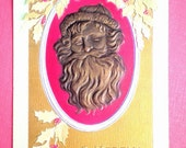 Vintage CHRISTMAS POSTCARD - Antique 1910s Heavily Embossed Gold Leaf and Bronze Santa / Father Christmas