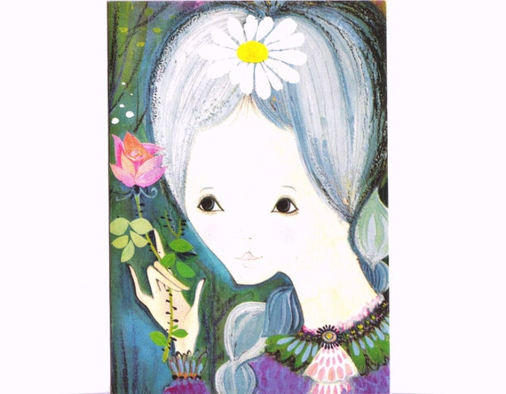 1960s Surreal FRENCH CARD - Girl Holding A Rose - Vintage