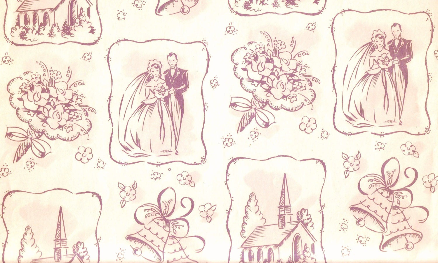 Wedding Gift Paper: 1950s GIFT WRAP / Wrapping Paper Wedding Bride And Groom