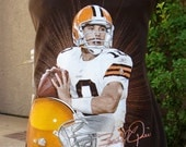 The UPCycled T Shirt Dress FOOTBALL NO. 12 One Size Fits 2T - 6 BRADY QUINN CLEVELAND BROWNS