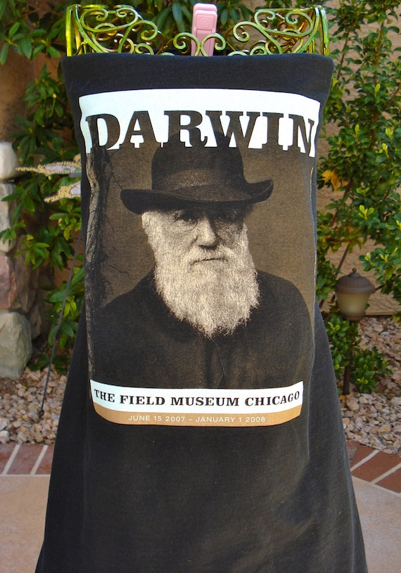 "The UPCycled T Shirt Dress ""Darwin, The Field Museum Chicago"" ARTSY NO. 6 One Size Fits 2T - 6"