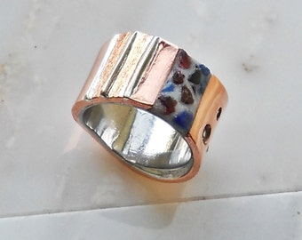 copper and steel ring with inlay