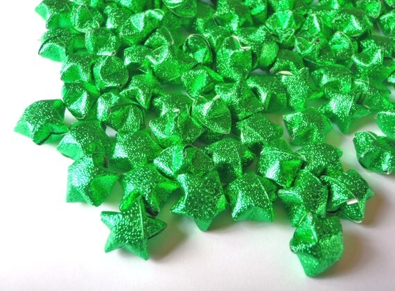 Origami Lucky Stars - Glittering Green  (custom orders available)