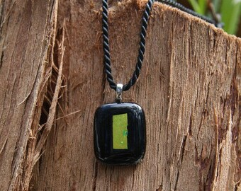 Fused Glass Pendant - Black with Gold Dichroic Stripe